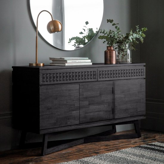 Boho Boutique Wooden Sideboard In Matt Black Charcoal