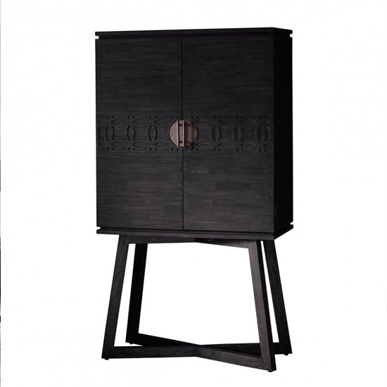 Boho Boutique Wooden Wine Cabinet In Matt Black Charcoal