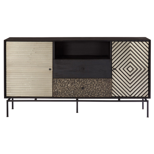 Boho Mango Wood 2 Doors 2 Drawers Sideboard In Black