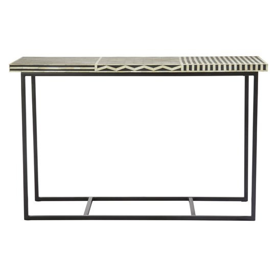 Algieba Mango Wood Console Table With Metal Base In Black