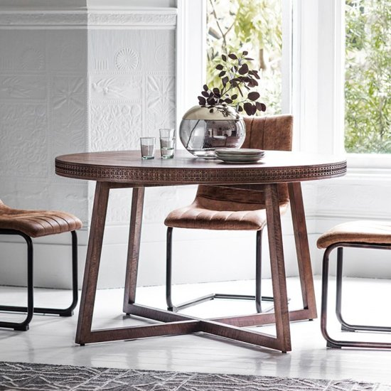 Boho Retreat Round Dining Table In Matt Black Charcoal