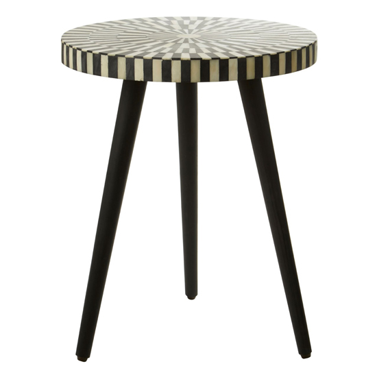Algieba Round Wooden Side Table In Black