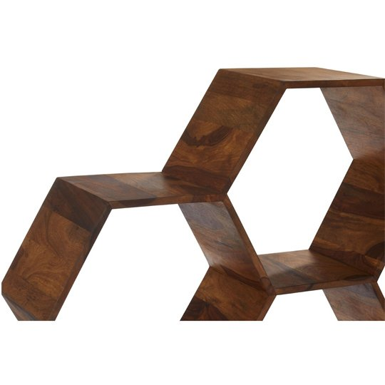 Algieba Sheesham Wood Hexagonal Bookshelf In Natural     _2