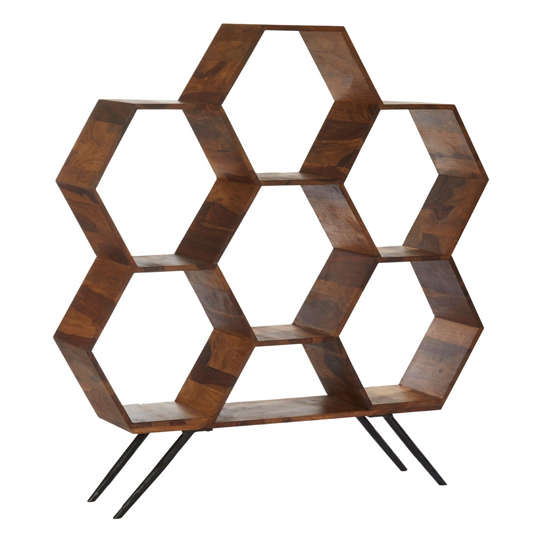 Algieba Sheesham Wood Hexagonal Bookshelf In Natural     _3