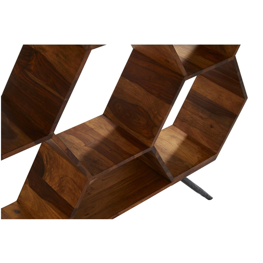 Algieba Sheesham Wood Hexagonal Bookshelf In Natural     _5