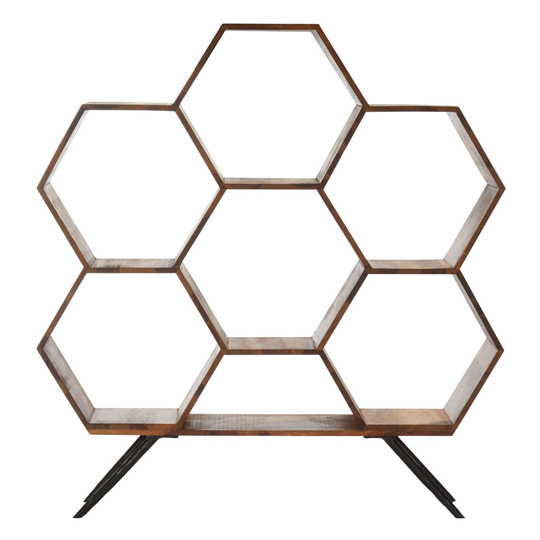 Boho Sheesham Wood Hexagonal Bookshelf In Natural
