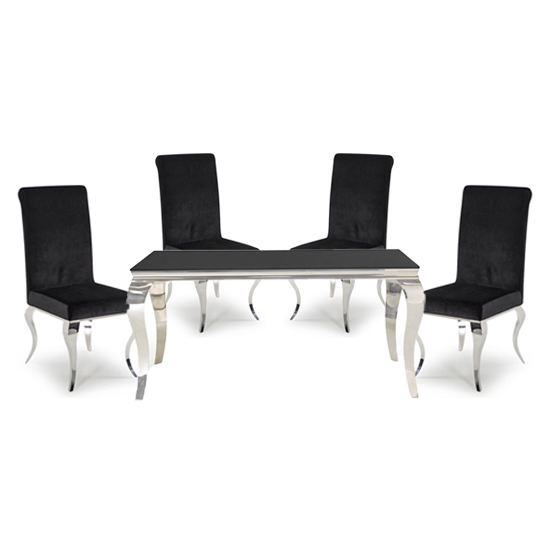 Bolero Black Glass Rectangular Dining Table With 4 Black Chairs