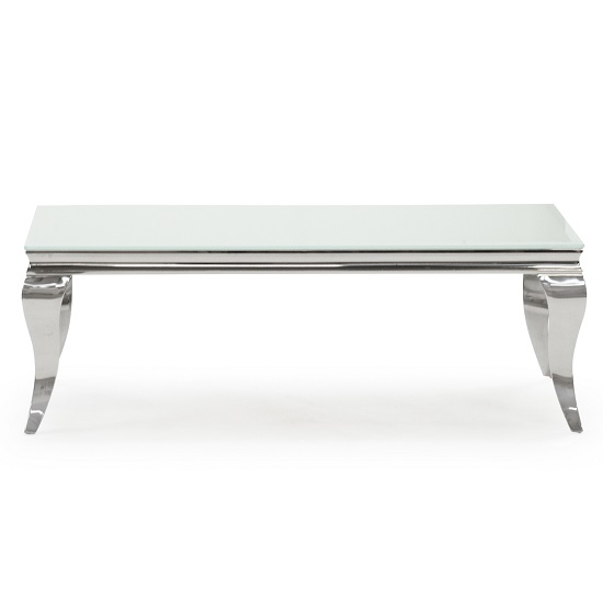 Bolero Glass Coffee Table 130cm In White With Metal Legs