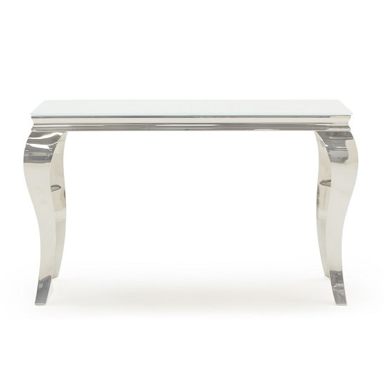 Bolero Glass Console Table Rectangular In White With Metal Legs