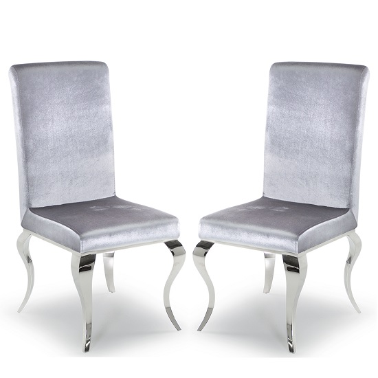 Bolero Dining Chair In Silver Velvet With Metal Legs In A Pair