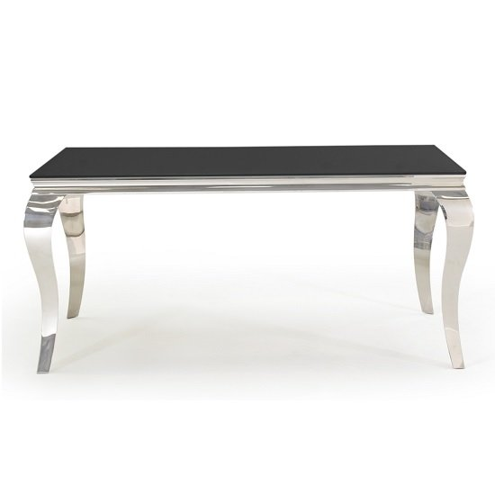 Bolero Glass Dining Table In Black With Metal Legs