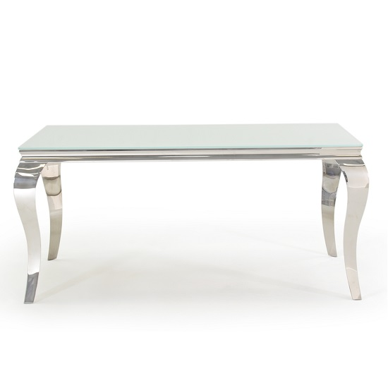Bolero Glass Dining Table In White With Metal Legs