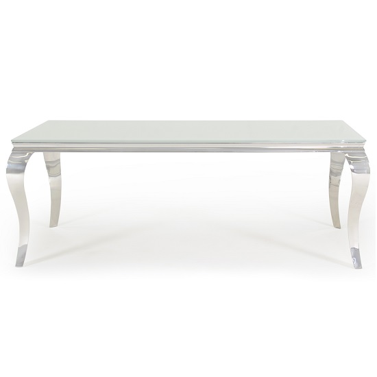 Bolero Glass Dining Table Large In White With Metal Legs