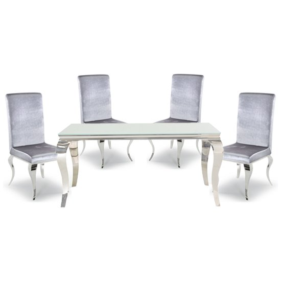 Bolero White Glass Rectangular Dining Table With 4 Silver Chairs