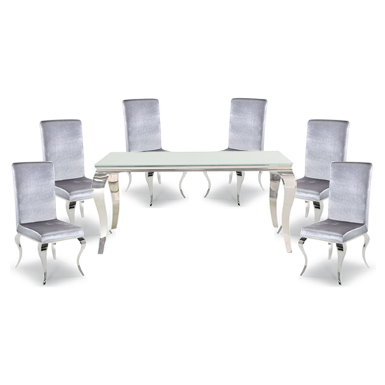 Bolero White Glass Rectangular Dining Table With 6 Silver Chairs