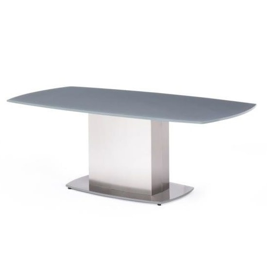 Bolivia Glass Coffee Table In Grey With Brushed Steel Base