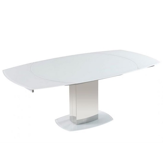 View Bolivia rotating extendable glass dining table in super white
