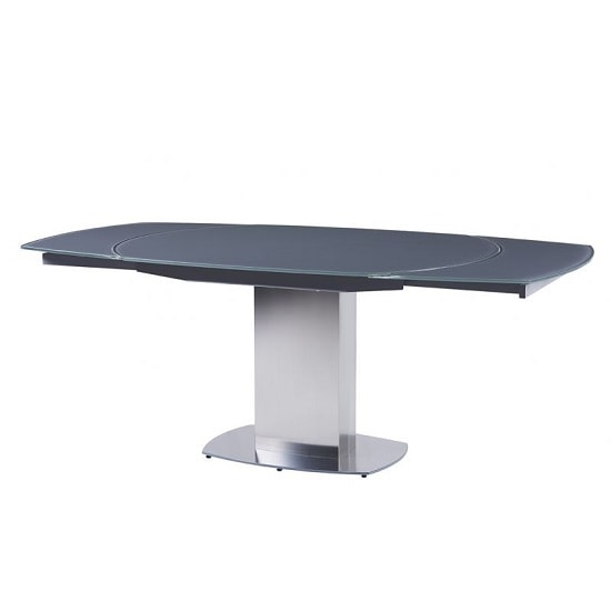 Bolivia Rotating Extendable Glass Dining Table In Grey
