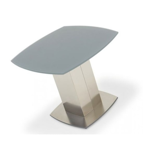 Bolivia Glass Side Table In Grey With Brushed Steel Base_2