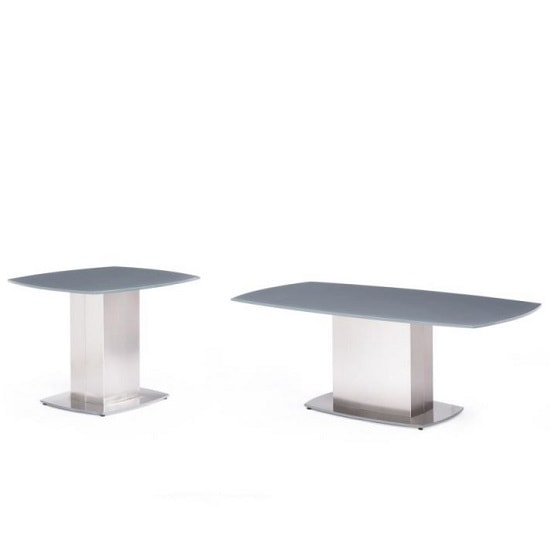 Bolivia Glass Side Table In Grey With Brushed Steel Base_3