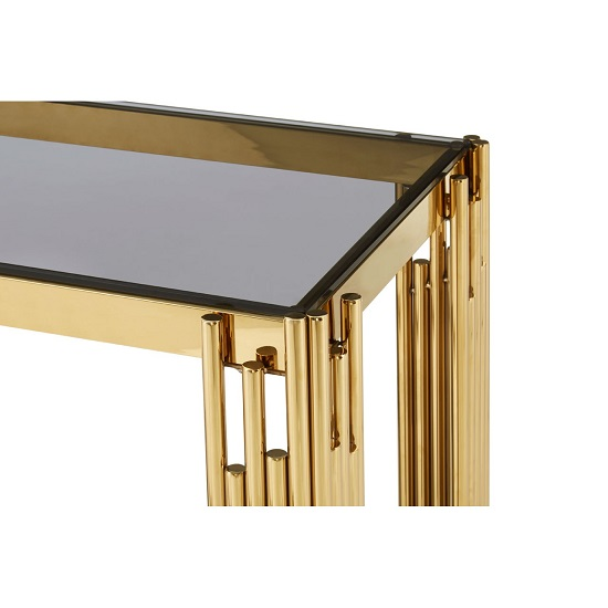 Algorab Glass Console Table With Gold Finish Linear Design Frame_3