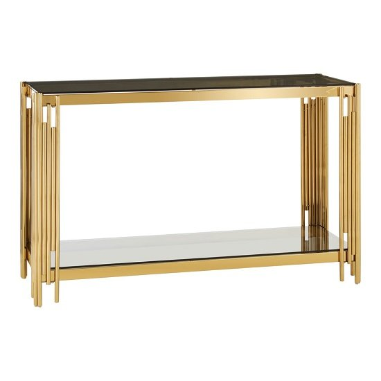 Algorab Glass Console Table With Gold Finish Linear Design Frame