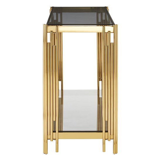 Algorab Glass Console Table With Gold Finish Linear Design Frame_4
