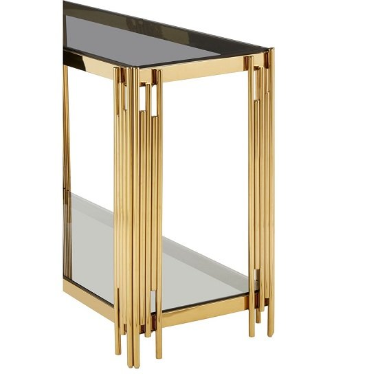 Algorab Glass Console Table With Gold Finish Linear Design Frame_5