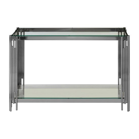Alhena Glass Console Table With Silver Linear Design Frame