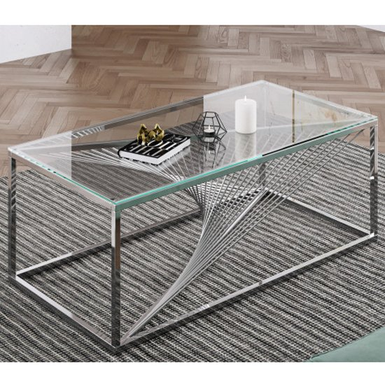 Bolzano Clear Glass Coffee Table With Silver Stainless Steel Leg