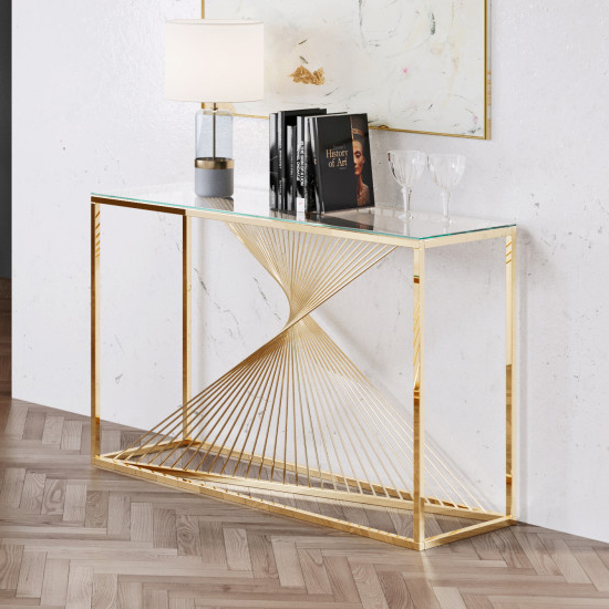 Bolzano Clear Glass Console Table With Gold Steel Legs