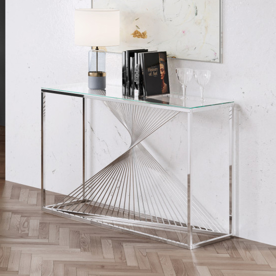 Bolzano Clear Glass Console Table With Silver Steel Legs