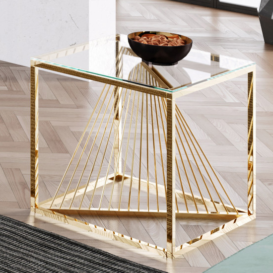 Bolzano Clear Glass Side Table With Gold Stainless Steel Legs