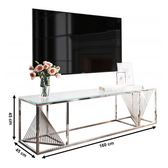 Bolzano Clear Glass TV Stand With Silver Stainless Steel Legs_2