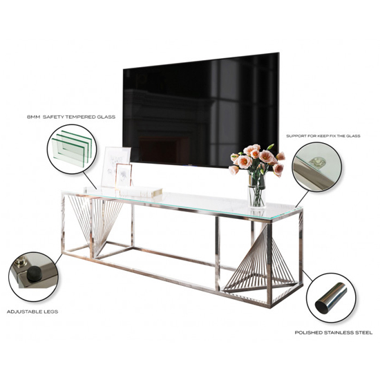 Bolzano Clear Glass TV Stand With Silver Stainless Steel Legs_3