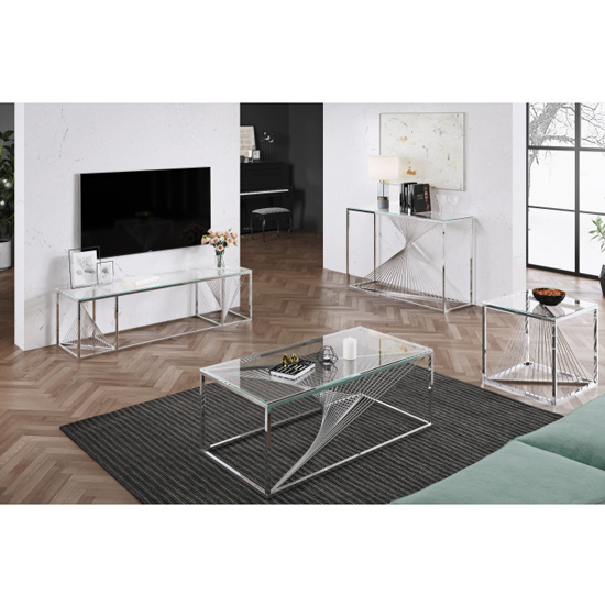 Bolzano Clear Glass TV Stand With Silver Stainless Steel Legs_4