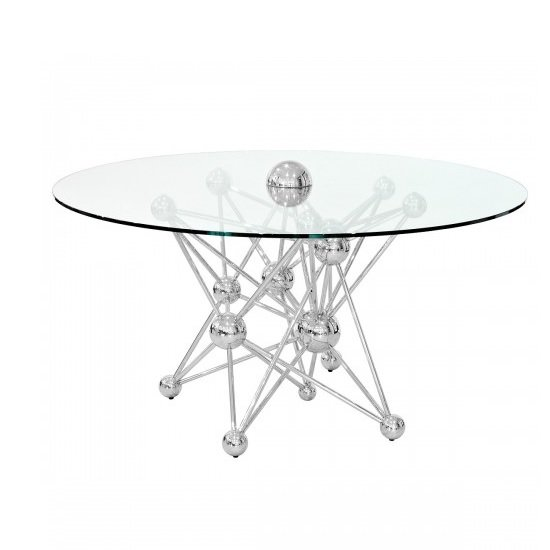 Bonnell Glass Dining Table In Clear With Stainless Steel Base