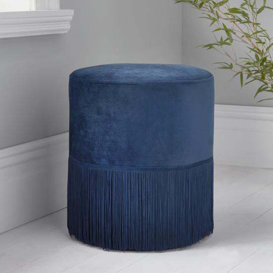 View Brunner round velvet tassles stool in mystique blue
