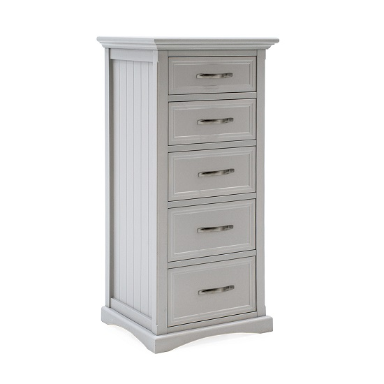 Boody Wooden Tall Chest Of Drawers In Grey Pained Finish