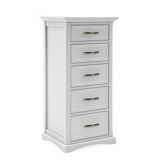 Boody Wooden Tall Chest Of Drawers In White Pained Finish