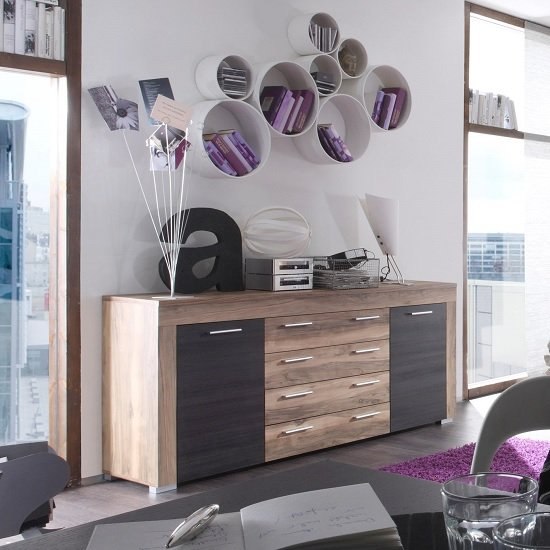 Boom Sideboard In Walnut Satin And Dark Brown Touchwood