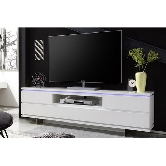 Boomer TV Stand In Matt White With 4 Drawers And LED