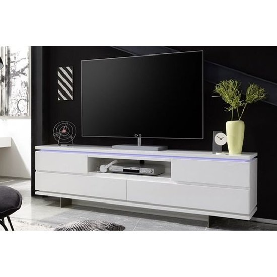 Boomer TV Stand In Matt White With 4 Drawers And LED Lighting_1