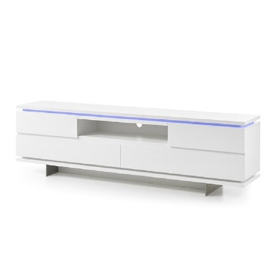 Boomer TV Stand In Matt White With 4 Drawers And LED Lighting_4