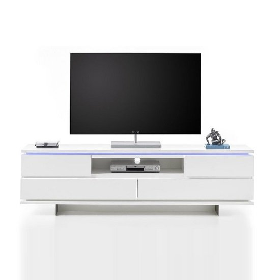 Boomer TV Stand In Matt White With 4 Drawers And LED Lighting_3