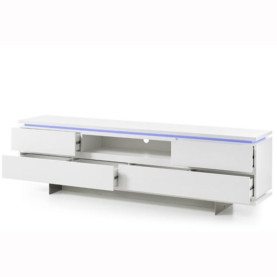 Boomer TV Stand In Matt White With 4 Drawers And LED Lighting_2