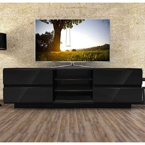 Boone Wooden TV Stand In Black High Gloss With Four Drawers