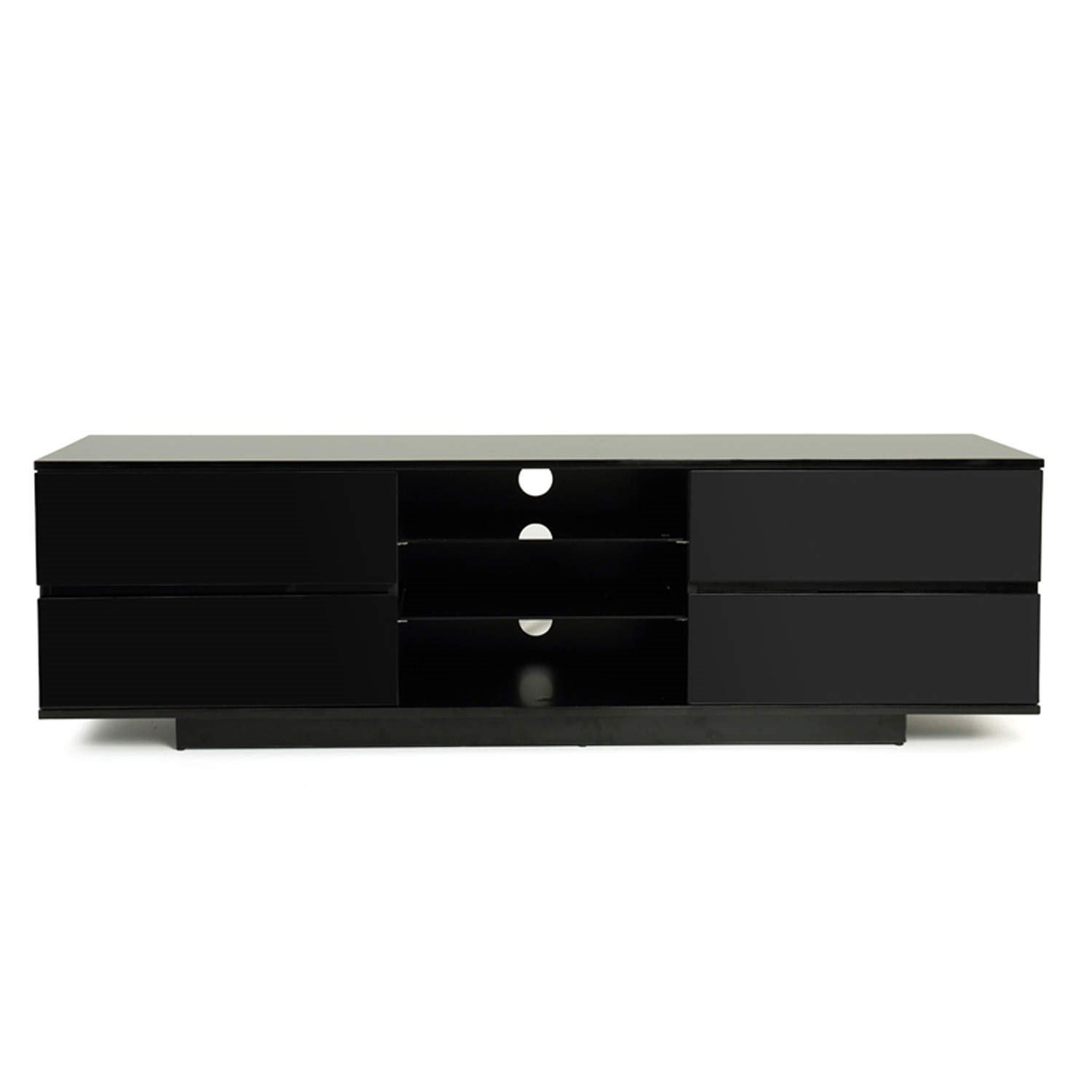 Boone Wooden TV Stand In Black High Gloss With Four Drawers_2