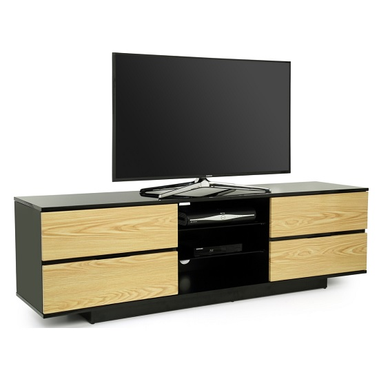 Boone TV Stand In Black High Gloss With Oak Gloss Drawers