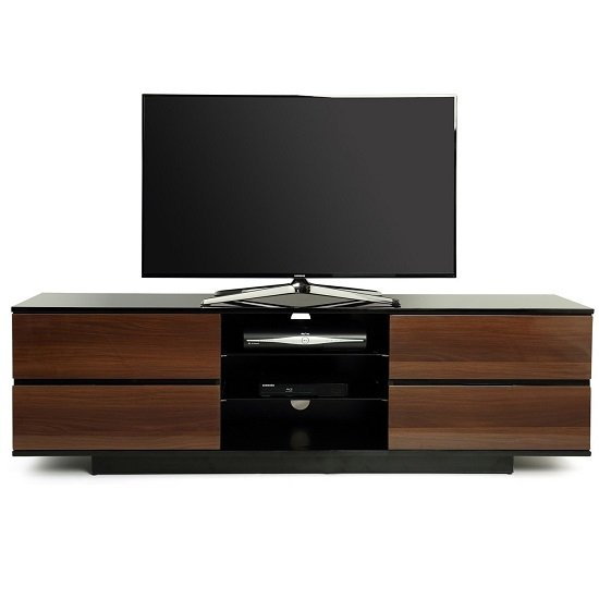 Boone TV Stand In Black High Gloss With Walnut Gloss Drawers